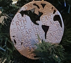 Peace on Earth Brass Christmas Tree Ornament