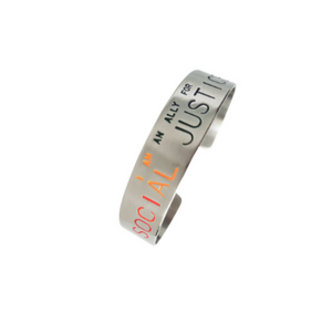 Pride Edition Ally - Social Justice Message Stainless Steel Cuff Bracelet