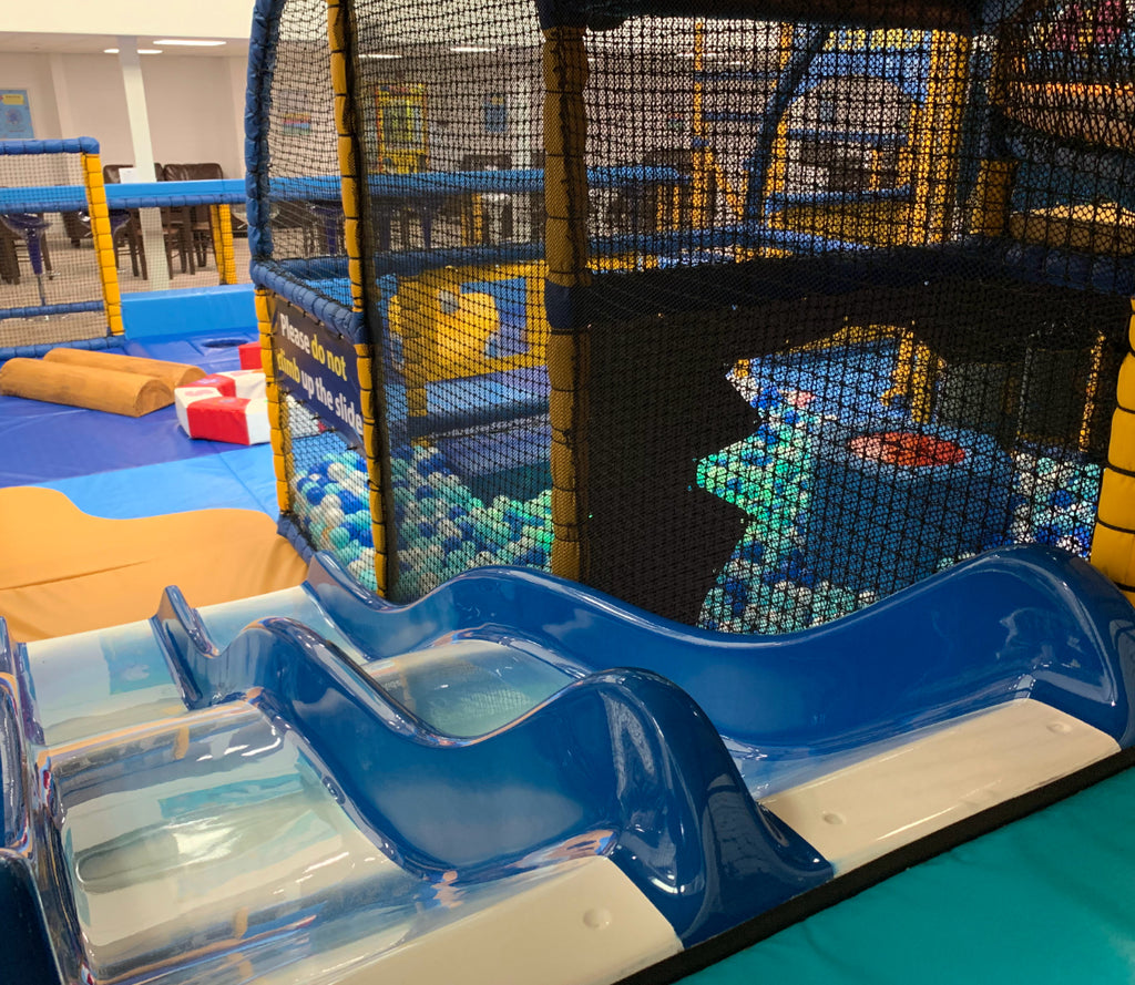 View of Ocean Adventurers soft play toddler area from the top of the slide