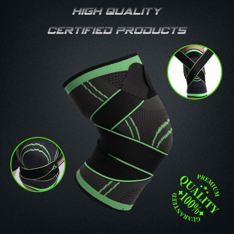 Knee Support Brace Compression Sleeve with Stabilizer Strap