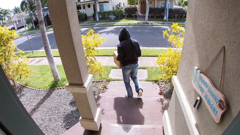 thief stealing package from porch