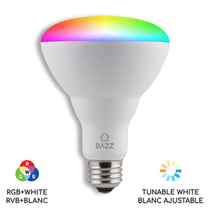 4 Pack of BR30 Smart WiFI RGB+White LED Bulb Starter Kit with WiFi Wall Light Switch
