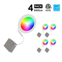 """6"""" Smart WiFi RGB+White LED Recessed Light Fixture (4-Pack)"""