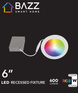 "4"" Smart Wifi RGB LED White Recessed Light Fixture"