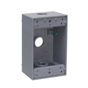 Hubbell 1-Gang Weatherproof Box, 3-1/2 in. Threaded Outlets, Gray