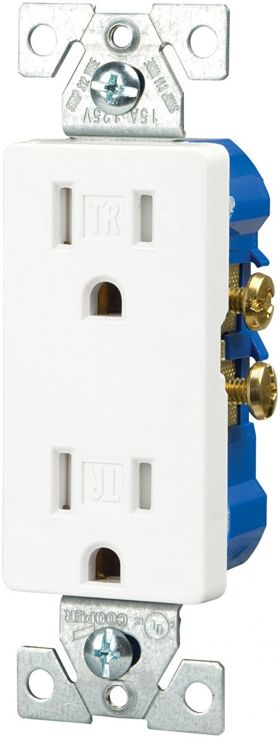 Decorator receptacles, White, 10-pack
