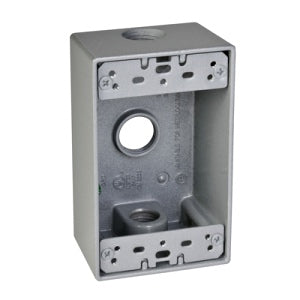 "Hubbell Outdoor Single Gang Box, 3X1/2"" Holes"