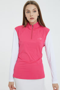 Women Ice Silk Long Sleeves UV Top - Hot Pink