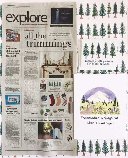 Yardia Evergreen State holiday card featured in the Seattle Times