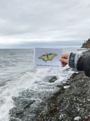 greeting card on stormy coast