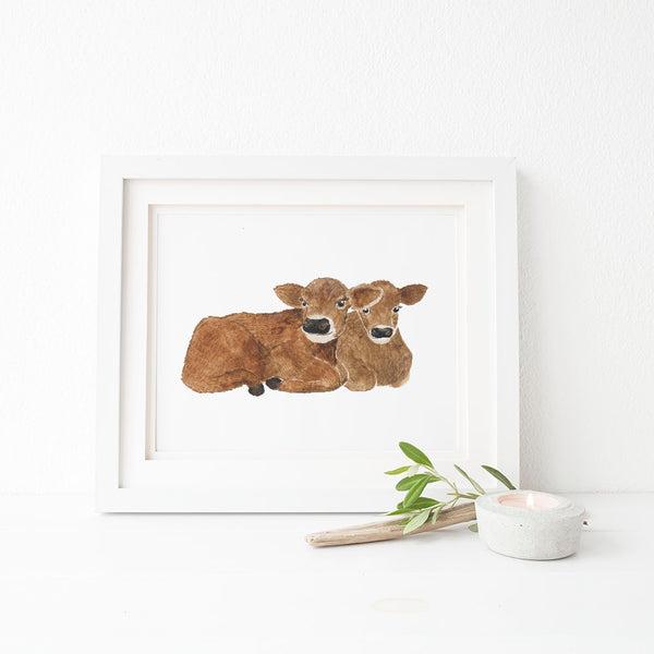 baby cows art print