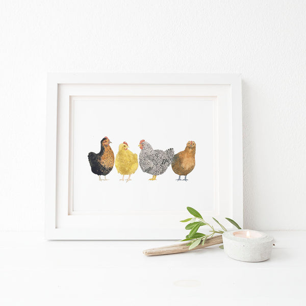 chickens art print farmhouse decor
