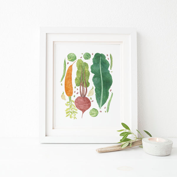 garden vegetables kitchen art print