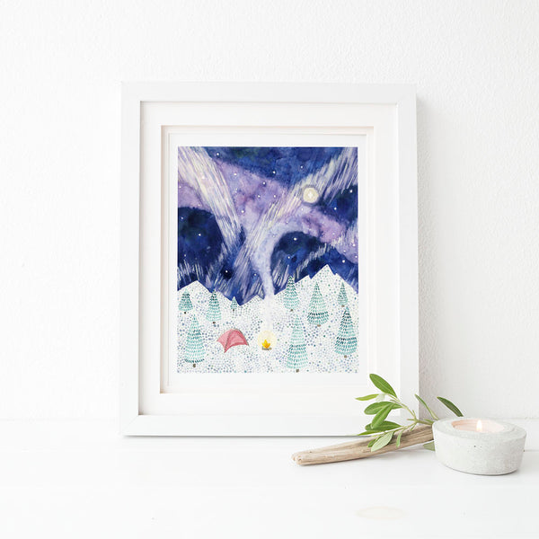 winter camping art print watercolor