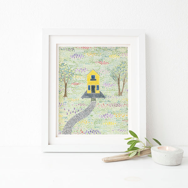 yellow farmhouse watercolor art print