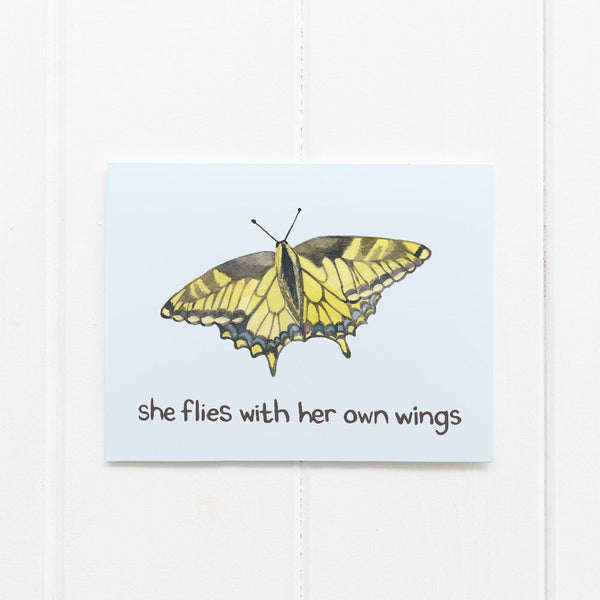 she flies with her own wings card
