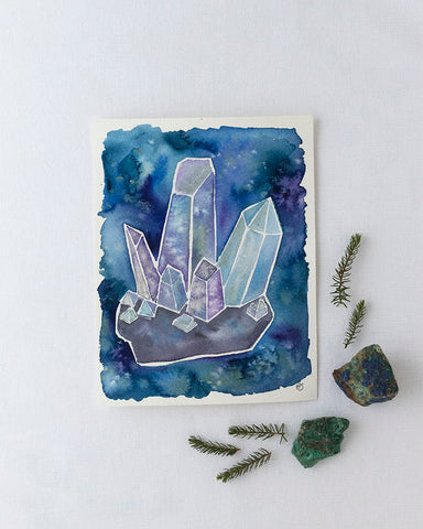 crystal cluster watercolor painting