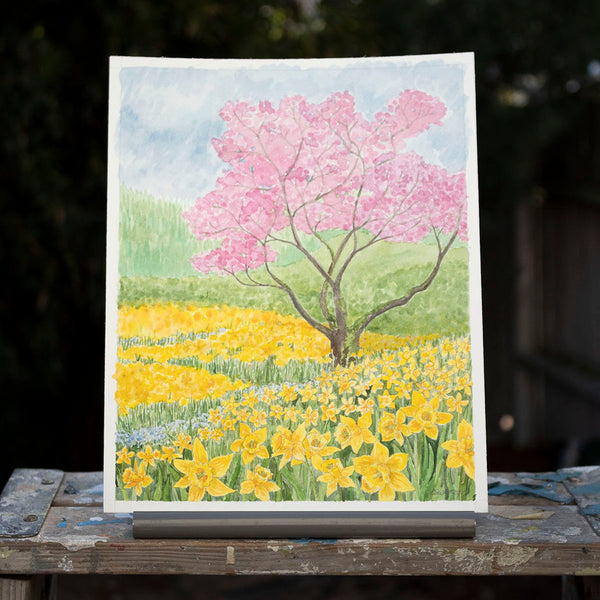 Daffodil Garden Original Watercolor Painting