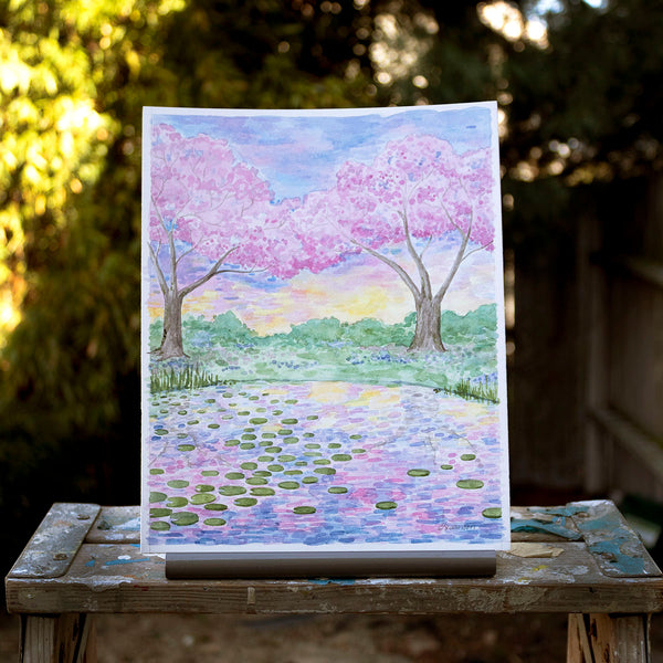 Cherry Blossom Pond Original Watercolor Painting