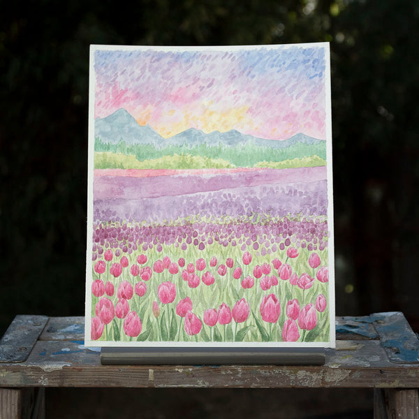Tulip Fields Original Watercolor Painting
