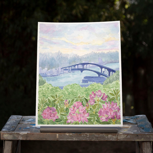West Seattle Bridge Original Watercolor Painting