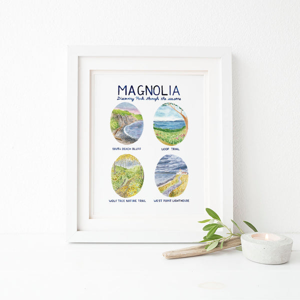 Magnolia and Discovery Park Watercolor Art Print