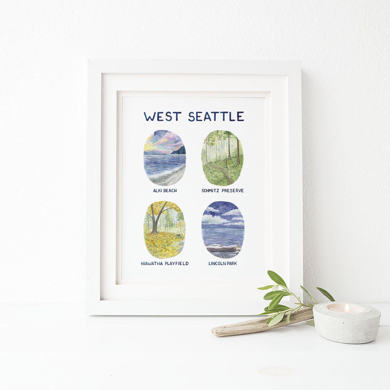 west seattle art print styled with frame not included