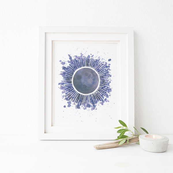 Solar Eclipse Watercolor Art Print