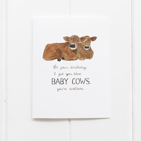 Baby cows birthday card by Yardia
