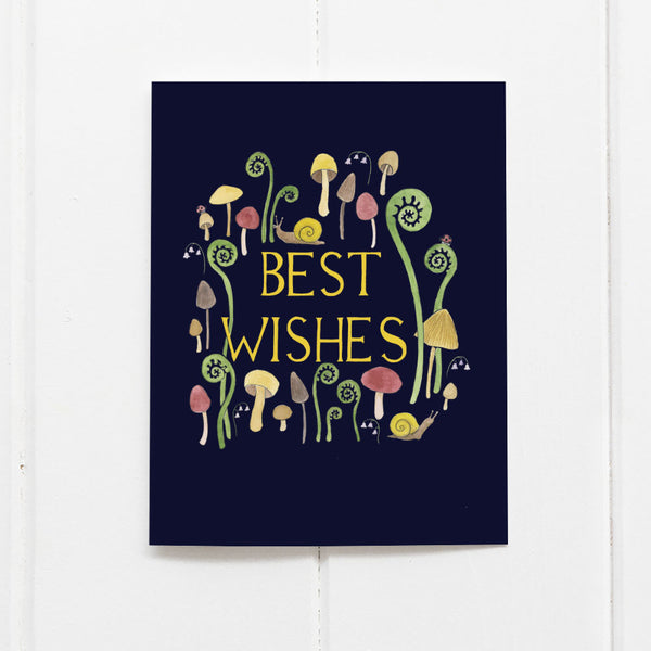 Best wishes mushroom card