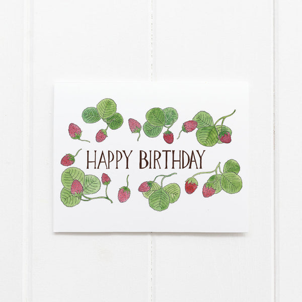 Strawberries Birthday card by Yardia