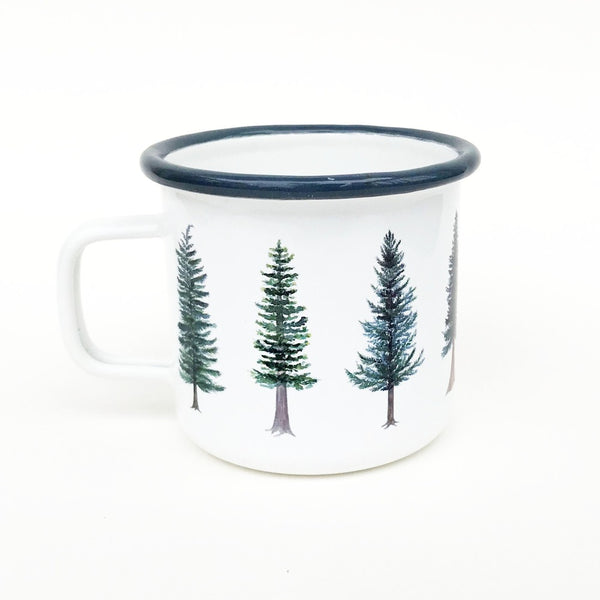 Evergreen Camp Mug, Enamel Camping Mug