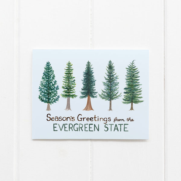 Evergreen State holiday card by Yardia