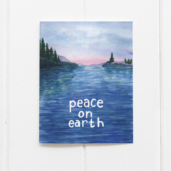Peace on earth holiday card, Pacific Northwest Christmas card