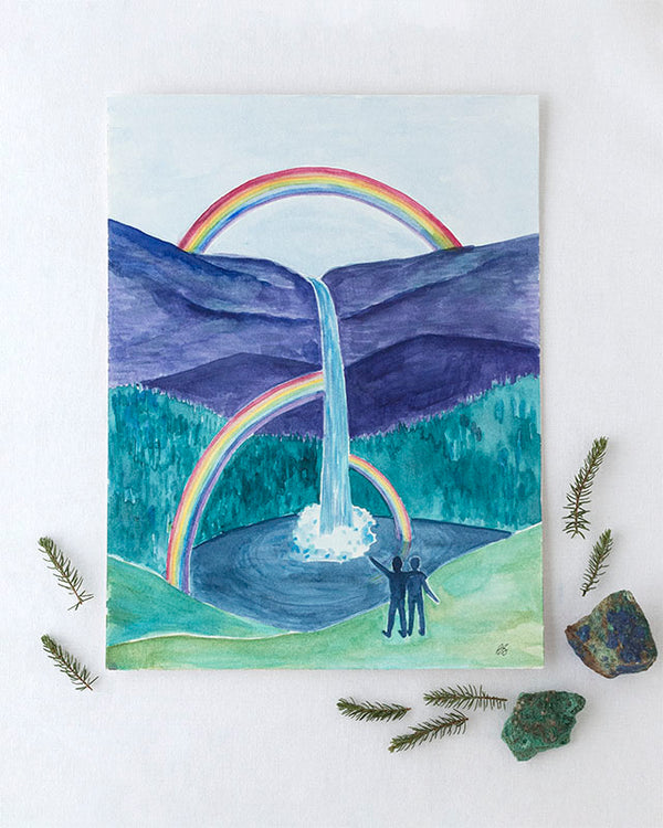 Rainbow Waterfall Original Watercolor Painting