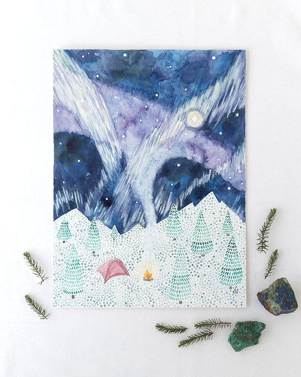 Winter Camping Original Watercolor Painting
