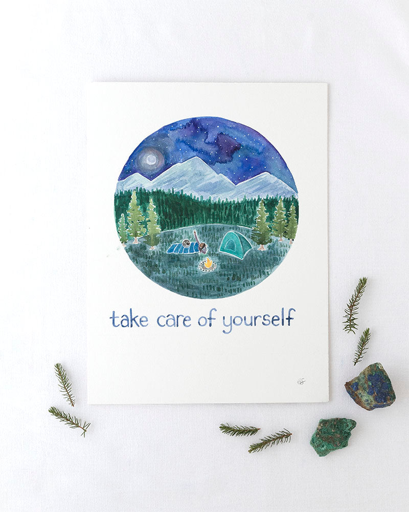 Take Care of Yourself Original Watercolor Painting
