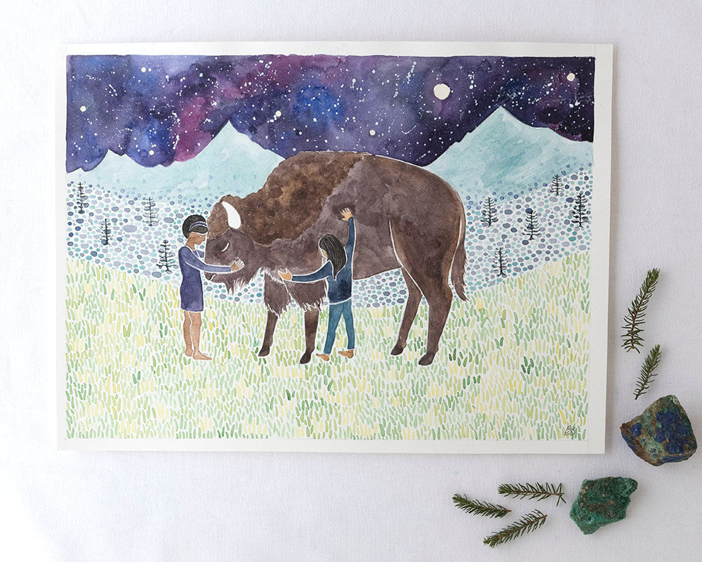 Bison Original Watercolor Painting