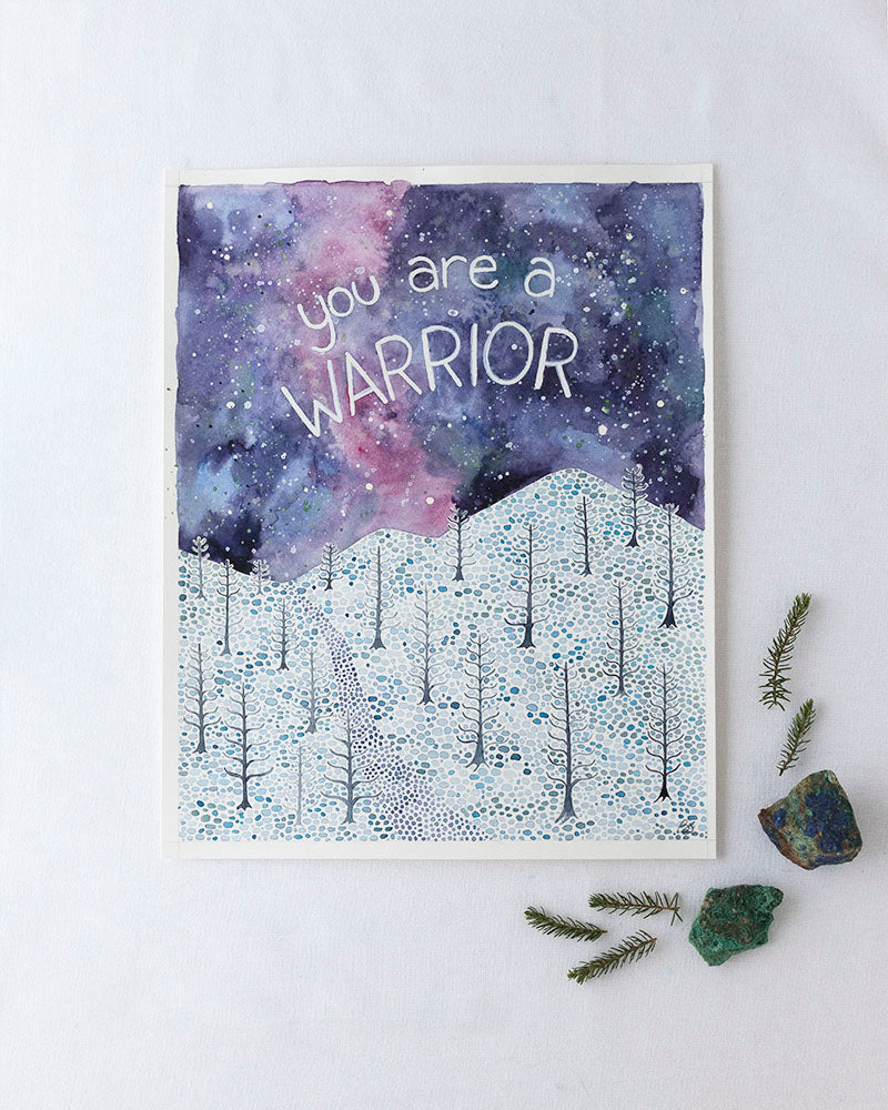 You are a Warrior Original Watercolor Painting