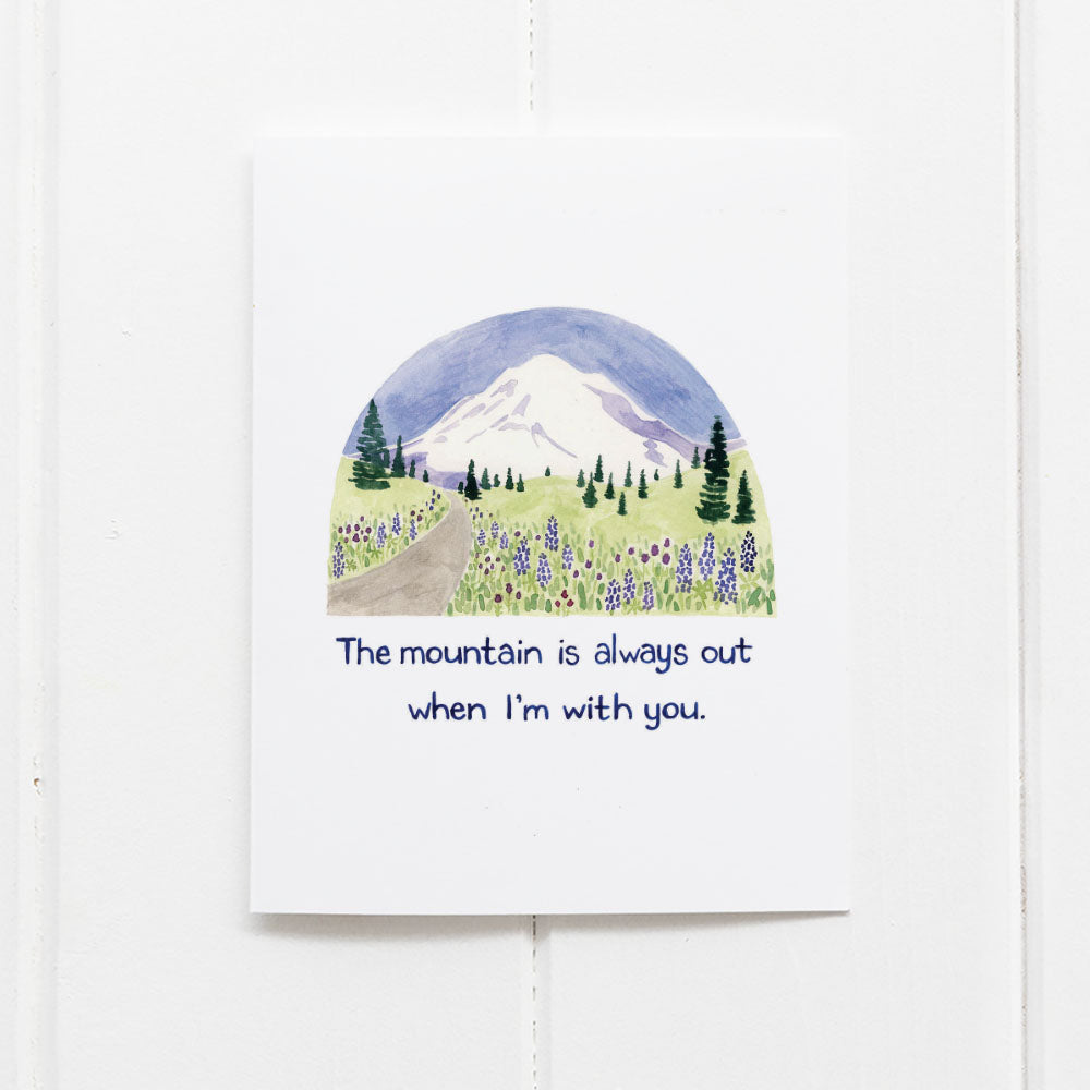The mountain is out love card by Yardia