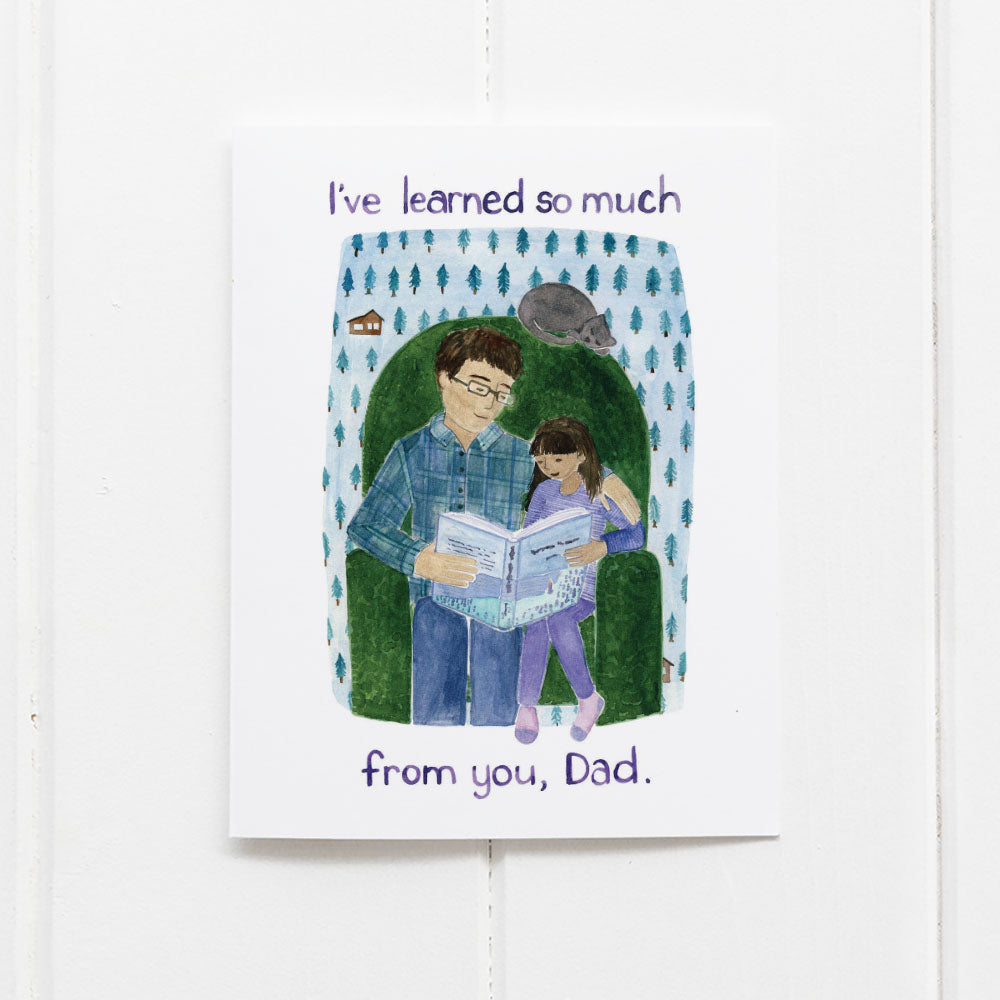 Fathers Day Card dad and daughter reading