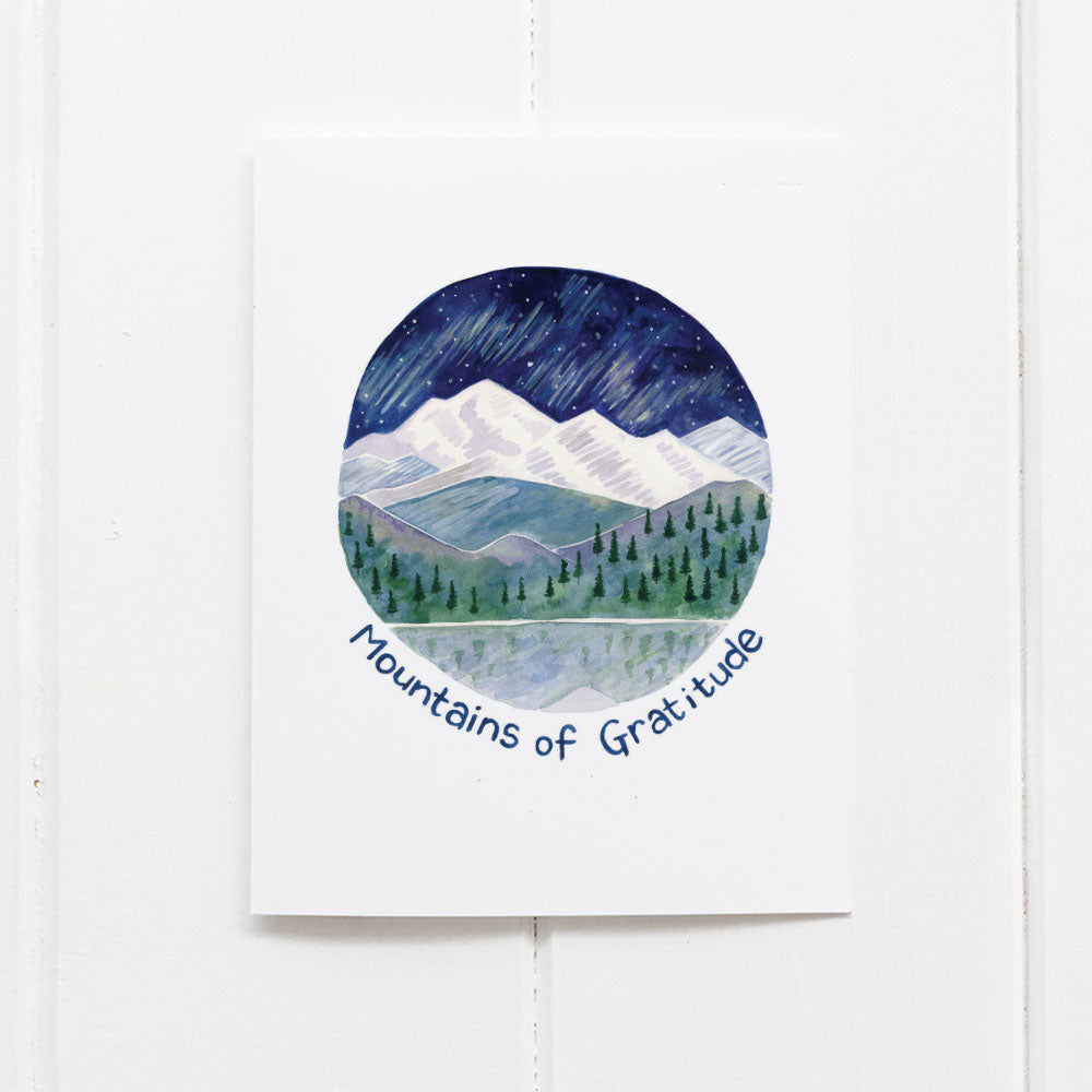 Mountains of gratitude thank you card by Yardia