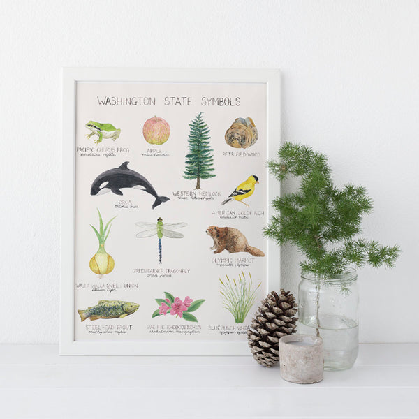 Washington State Symbols Art Print