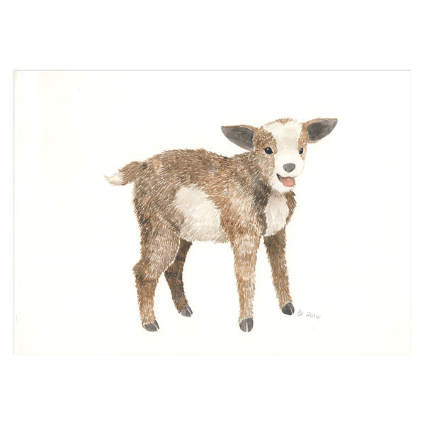Baby Goat Original Watercolor Painting