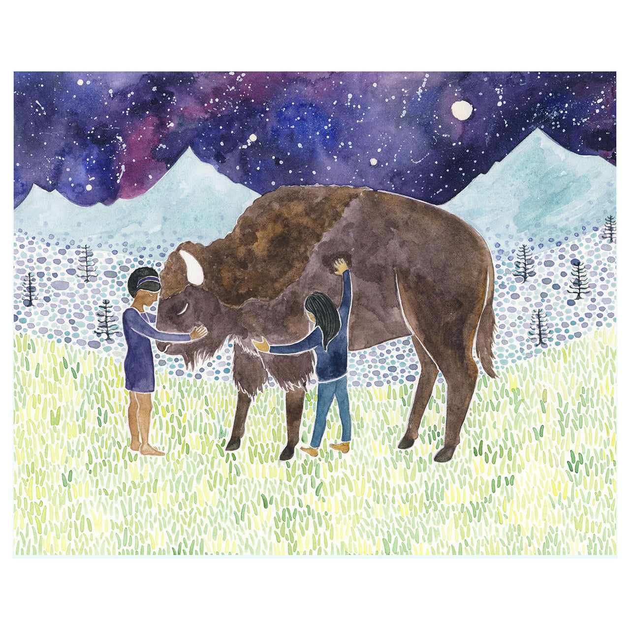 girls hugging bison original watercolor painting by Yardia