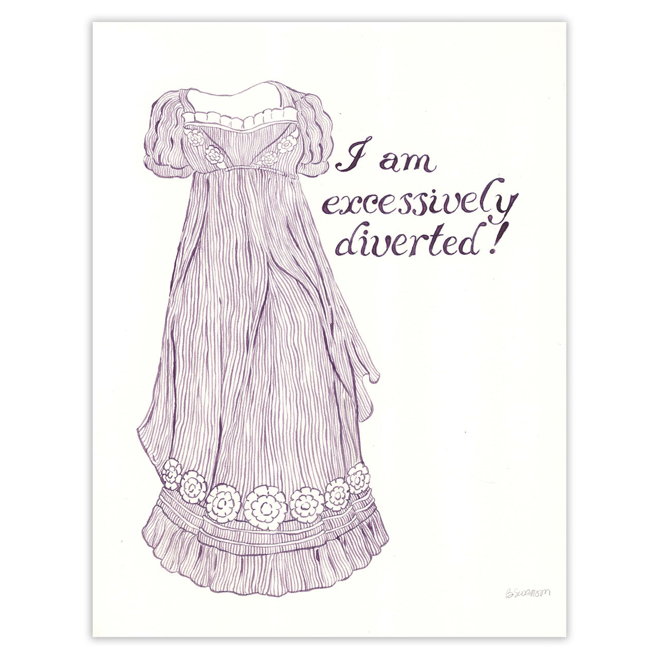 Jane Austen Excessively Diverted Original Ink Drawing