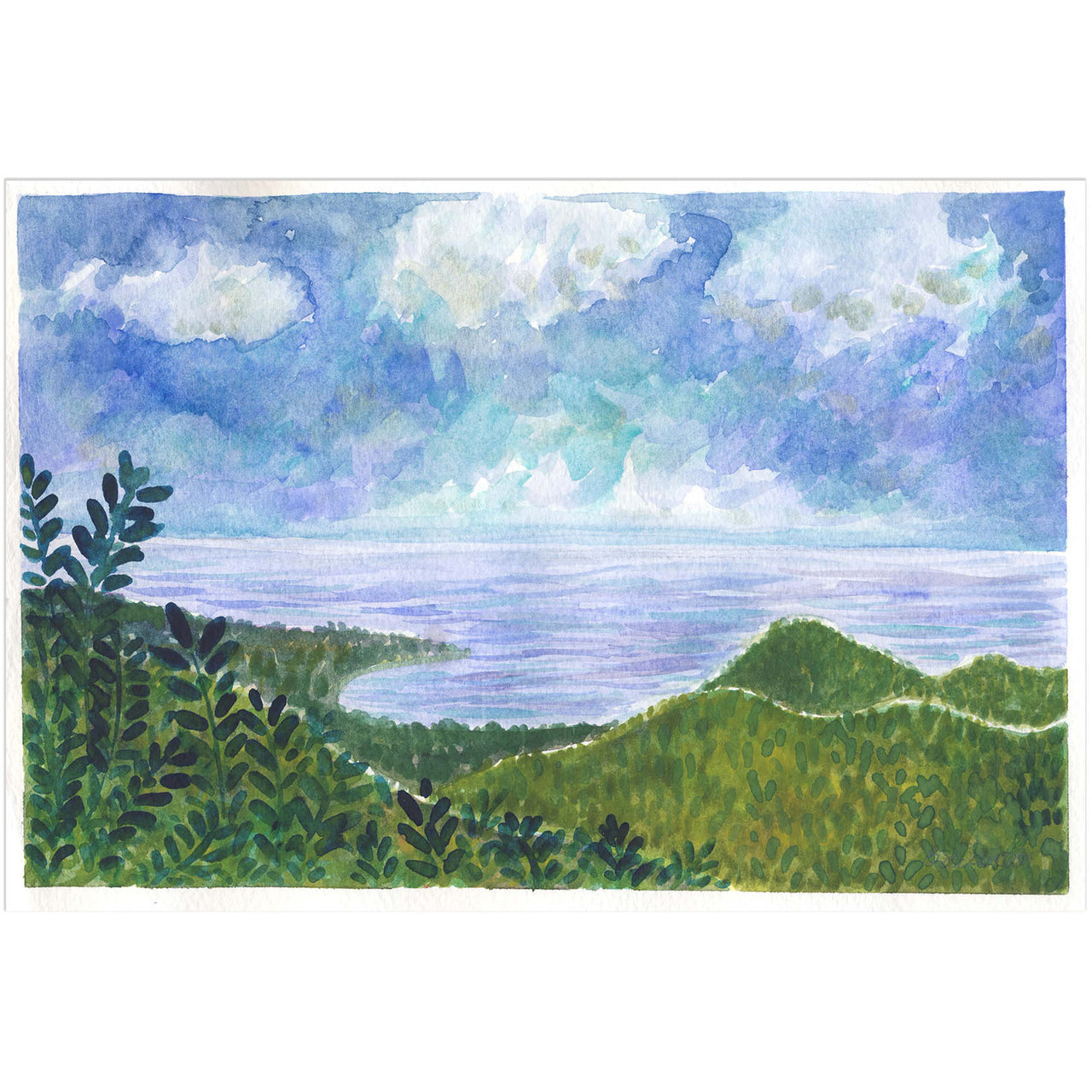 Guam landscape original watercolor painting by Yardia