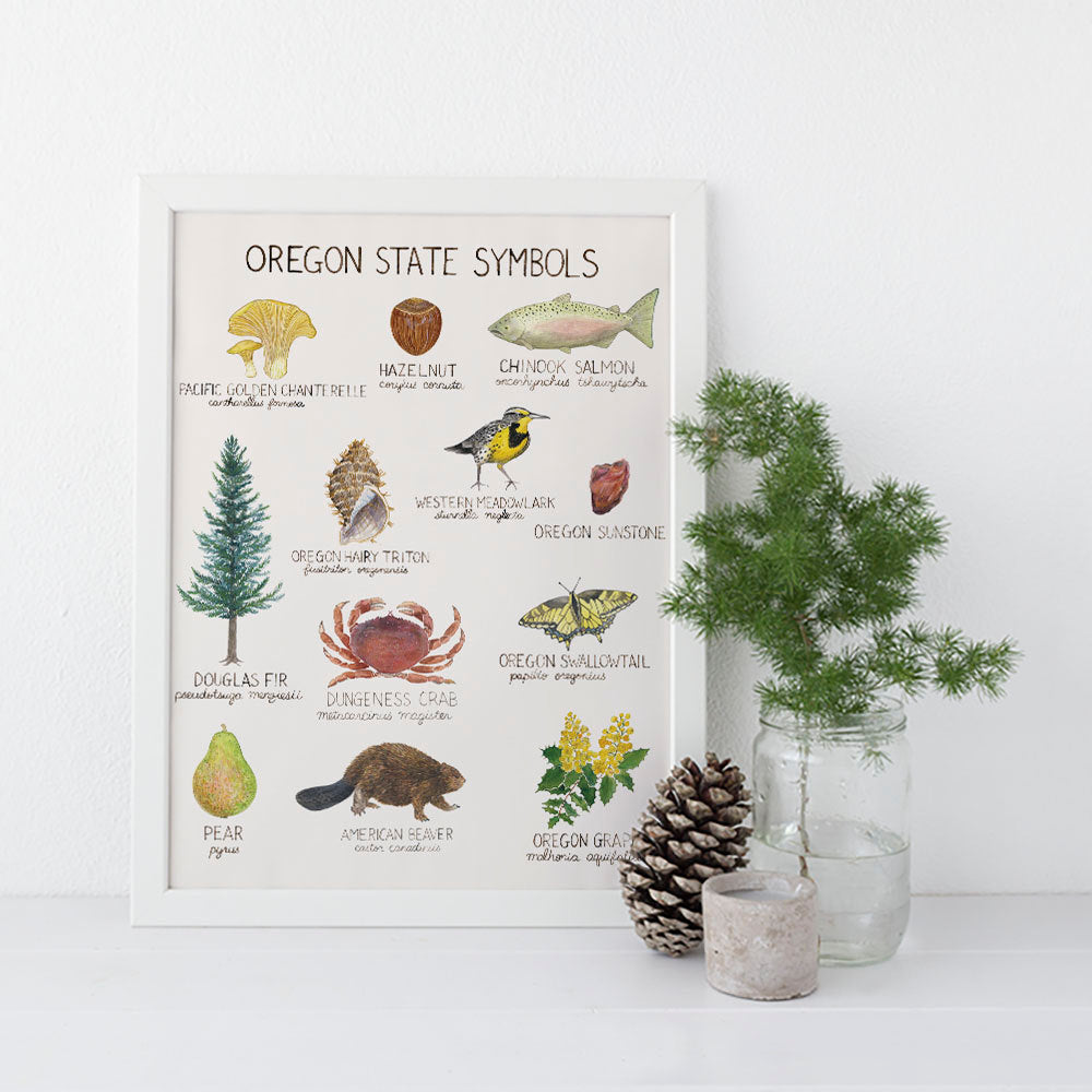 Oregon State Symbols Art Print