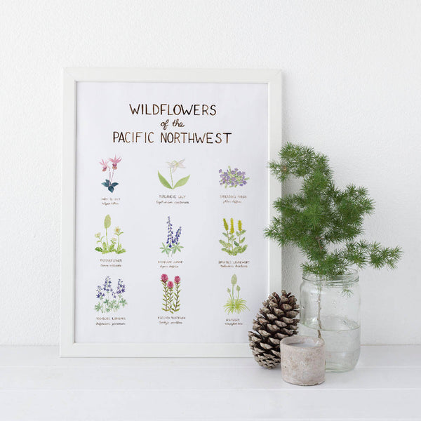 Pacific Northwest Wildflowers Art Print, Watercolor Art Print