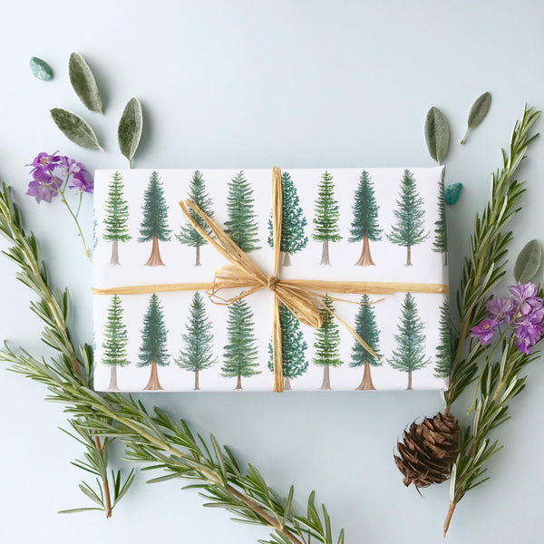 Evergreen Trees Wrapping Paper, Christmas Gift Wrap